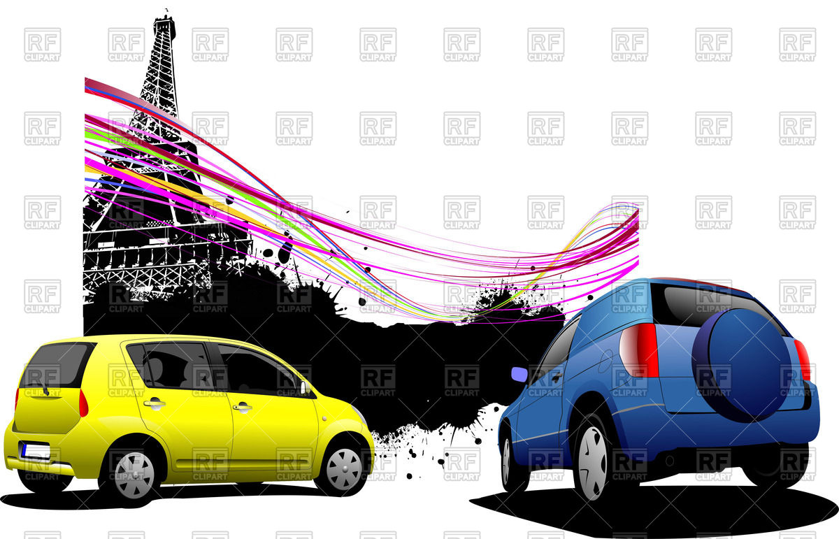 Rear view of small subcompact cars near Eiffel Tower on splatter.