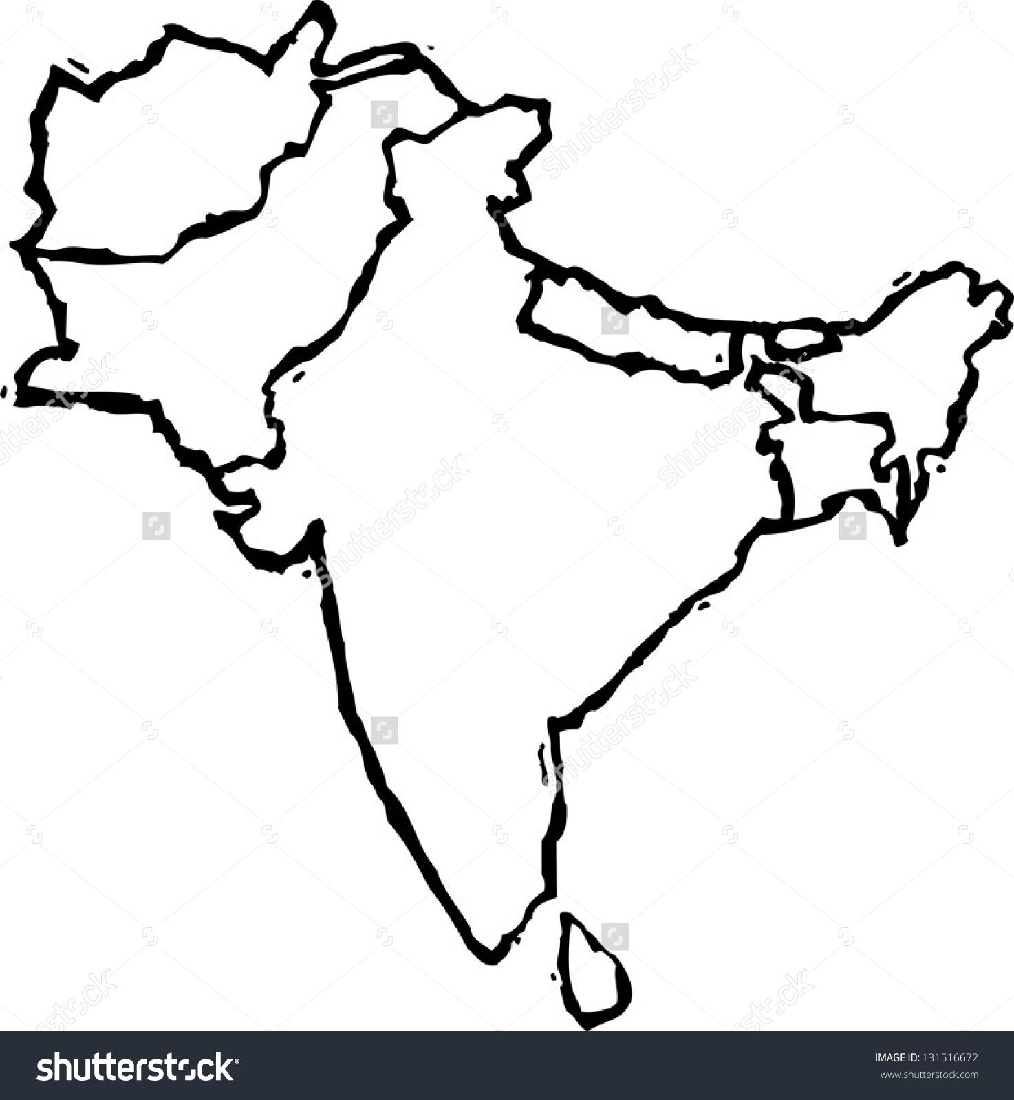 Black White Vector Illustration Map Asian Stock Vector 131516672.