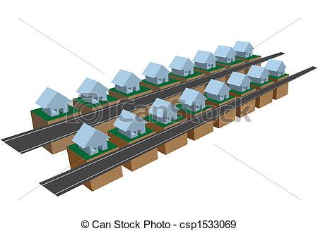 EPS Vectors of Rows of row houses on street blocks.