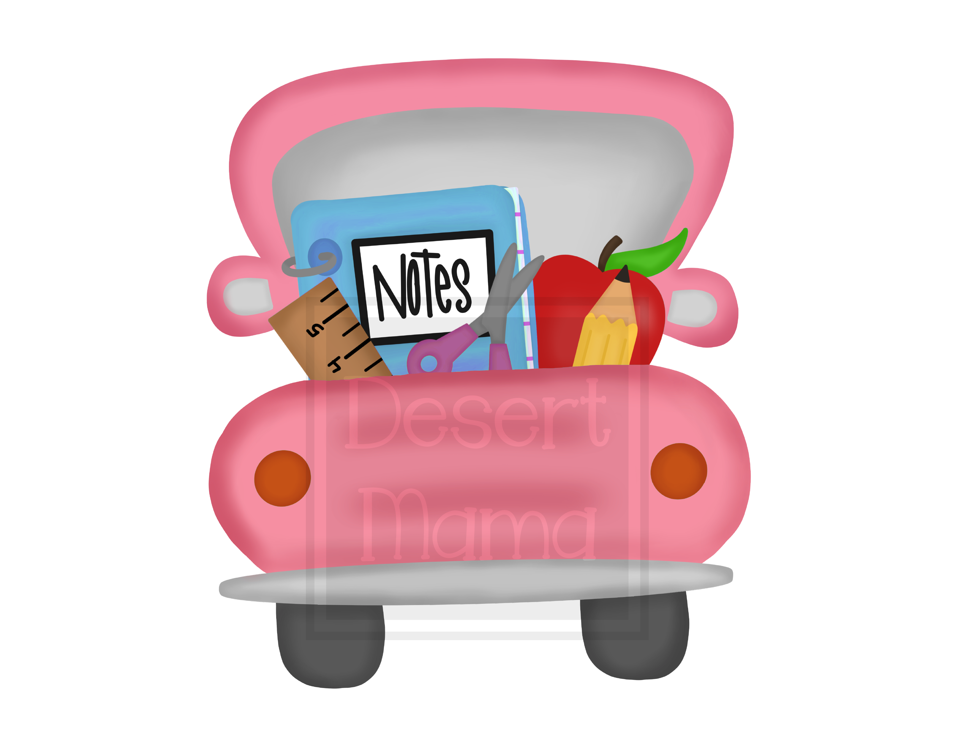Back To School Truck Pink PNG, Sublimation design, digital.