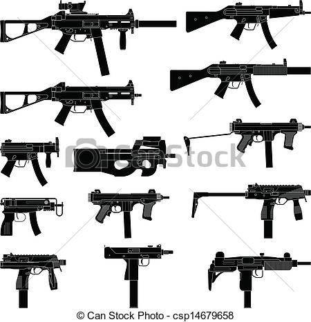 Submachine gun Vector Clipart EPS Images. 418 Submachine gun clip.