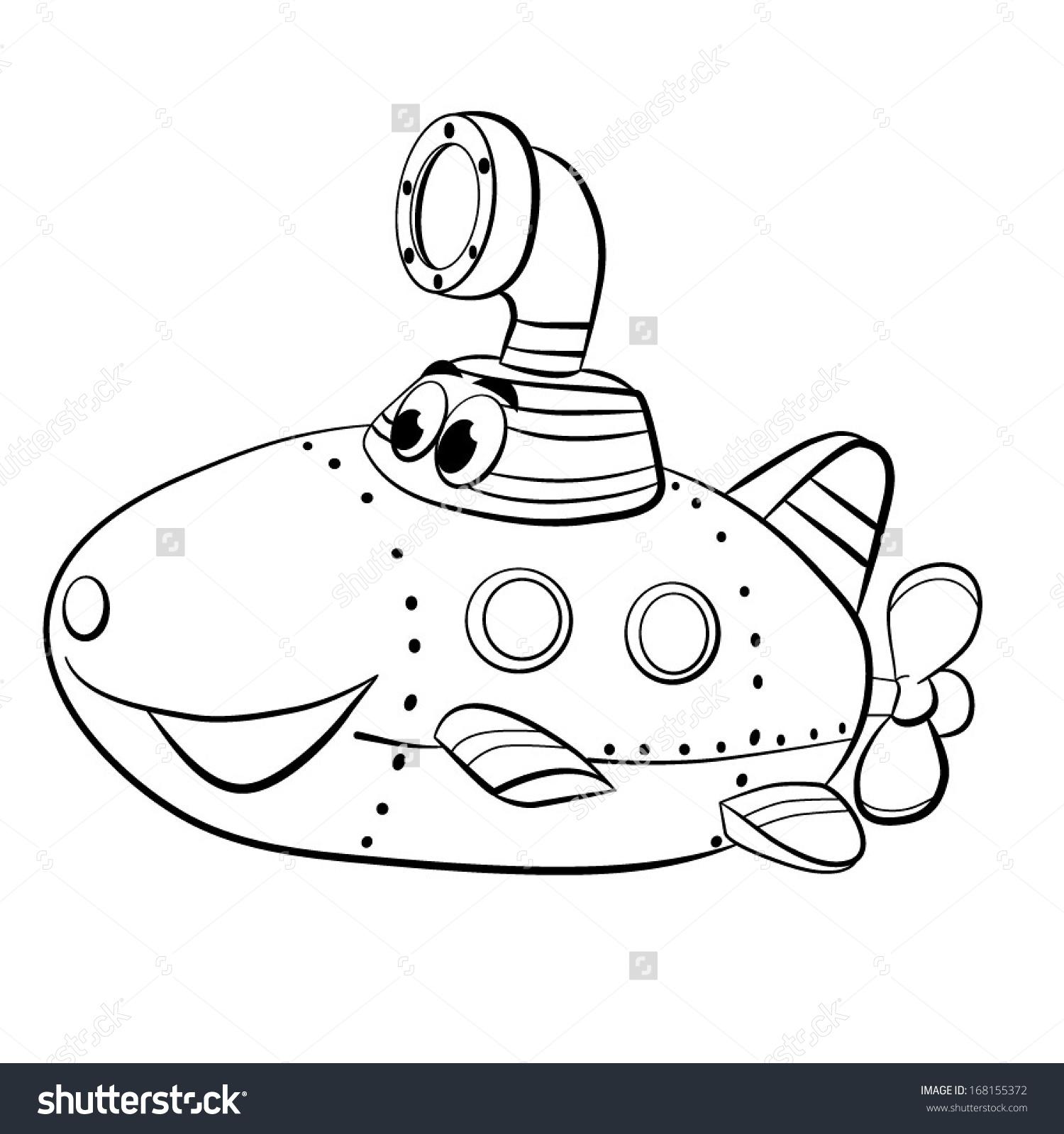 Contour Blackwhite Cartoon Merry Submarine Boat Stock Vector.