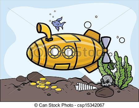 Clip Art Vector of Submarine in Water.