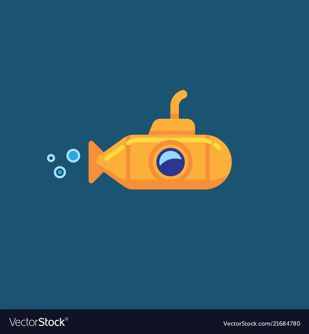 Yellow submarine underwater in sea water.