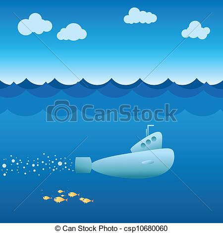 Clip Art Vector of Submarine.