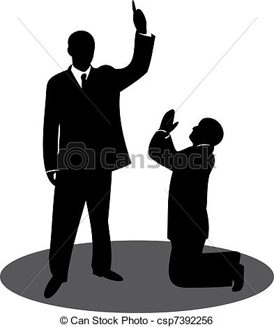 Clip Art Vector of The chief and the subordinate. Punishment.