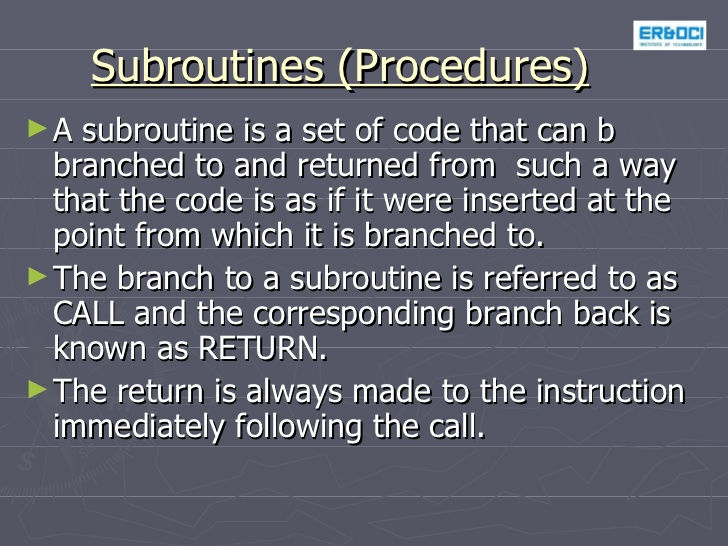 Stack and subroutine.