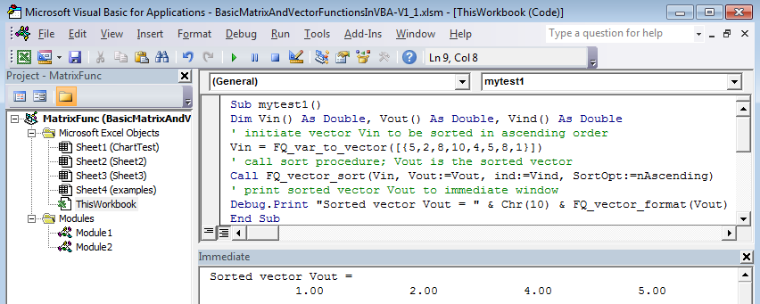 Basic matrix and vector functions with VBA/Excel.