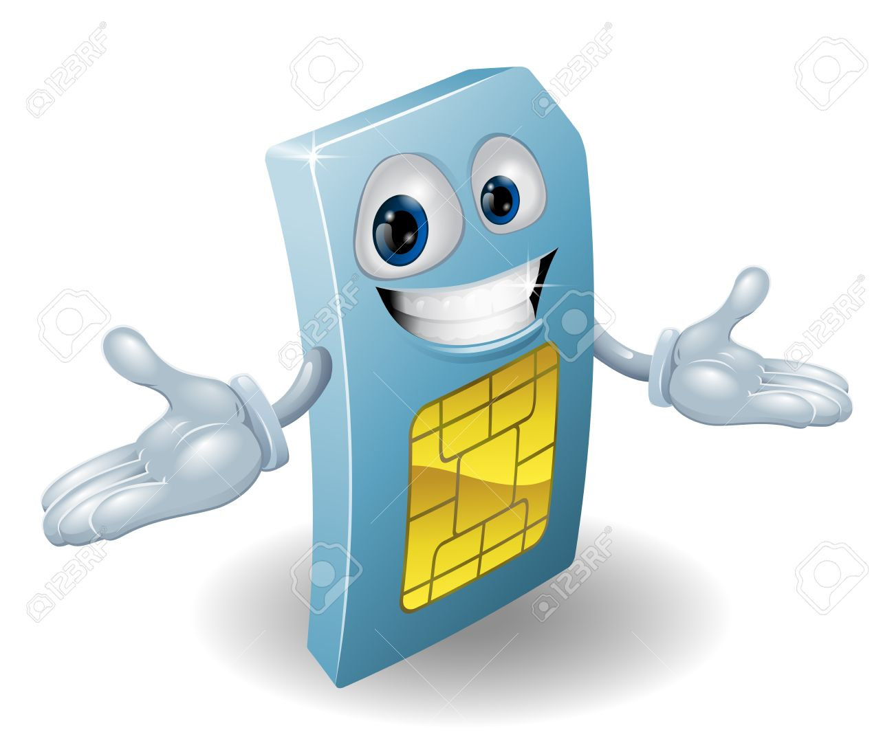 A Mobile Phone Subscriber Identity Module Card Mascot Royalty Free.