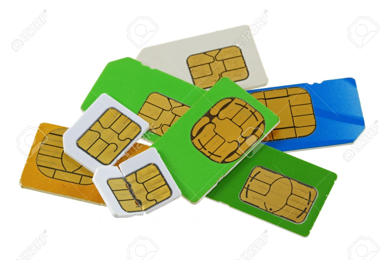 A Group Of Old And Used Subscriber Identity Module SIM Cards.