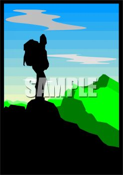 Silhouette of a Man Standing on a Mountain Peak.
