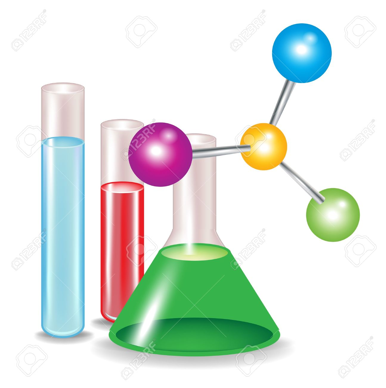 Abstract Molecules And Chemical Substance Containers Isolated.