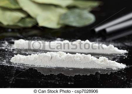 Stock Image of Cocaine powder (substituted by flour) in lines.
