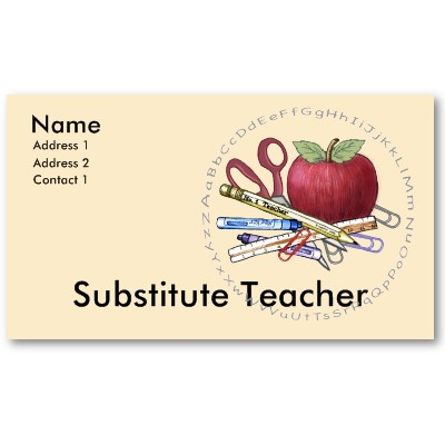 Substitute Teacher Business Card Templates from http://www.zazzle.