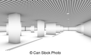 Underground garage parking without cars colorless Illustrations.