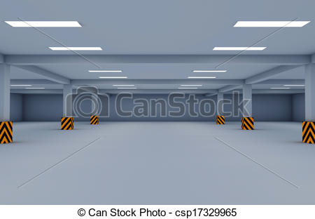 Drawings of Empty underground parking area 3d render csp16332933.