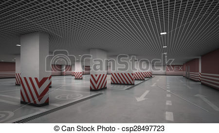 Clip Art of Underground garage parking without cars.