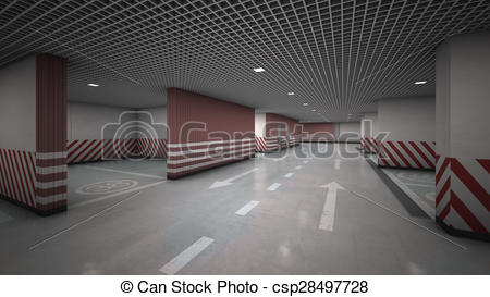 Clip Art of Underground garage parking without cars.