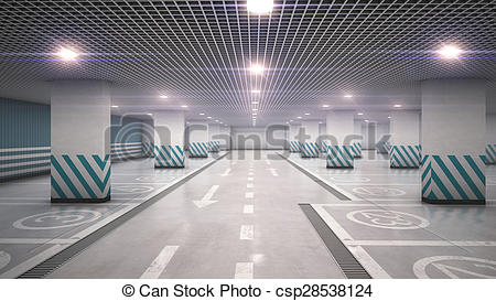 Clip Art of Underground garage parking without cars refraction.