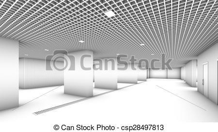 Clipart of Underground garage parking without cars colorless.