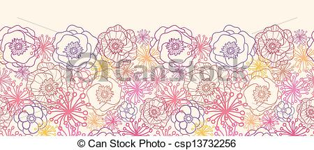 Clipart Vector of Subtle field flowers horizontal seamless pattern.