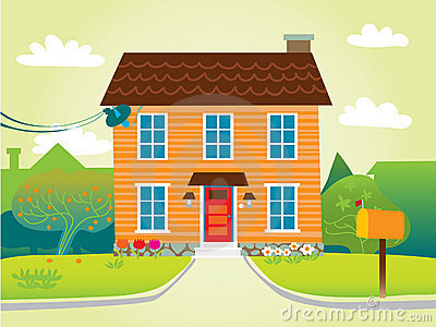 House in suburbs clipart.