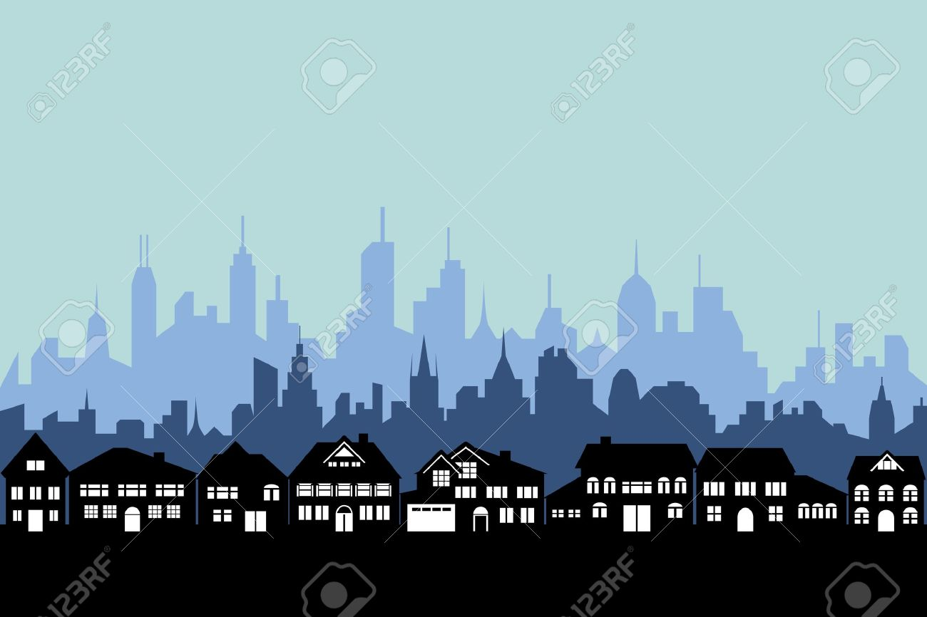 Suburbs And The Urban City Silhouette Royalty Free Cliparts.