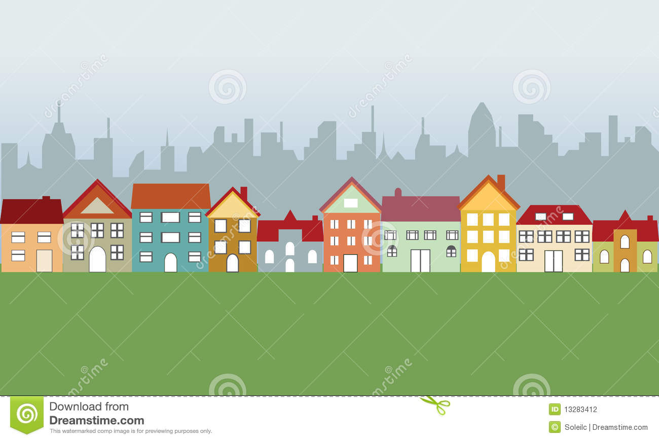 Suburban Houses And City Stock Photography.
