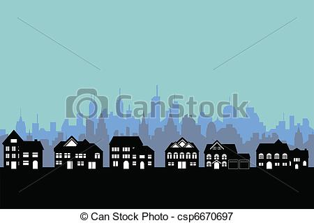 Vector Clip Art of Suburban houses and city.