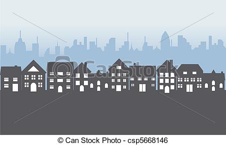 Clip Art Vector of Suburban homes at night.