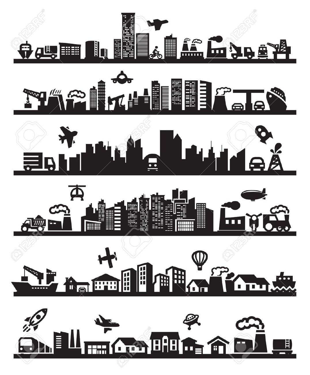 Big City Icons Royalty Free Cliparts, Vectors, And Stock.