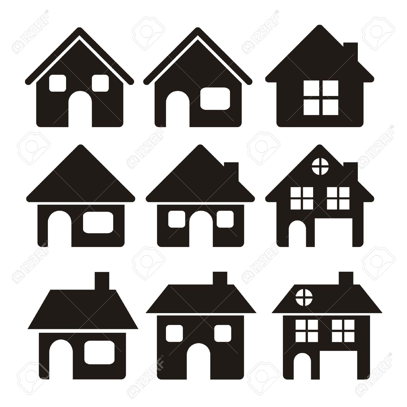 Illustration Of Home Icons, House Silhouettes On White Background.