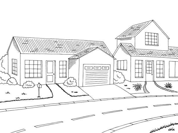 Suburban Community Clipart Black And White.