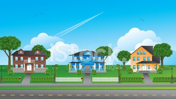 Suburbia Houses Illustration Stock Vector.