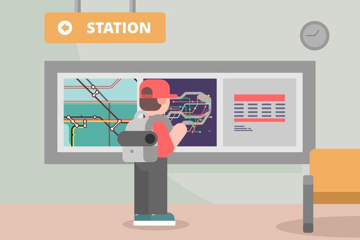 Subway Station with Tube Map Illustration.
