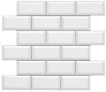 Subway 2x4 Beveled White Gloss Ceramic Wall Tile.
