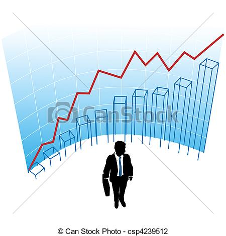 Vector Illustration of Business man graph chart curve success.