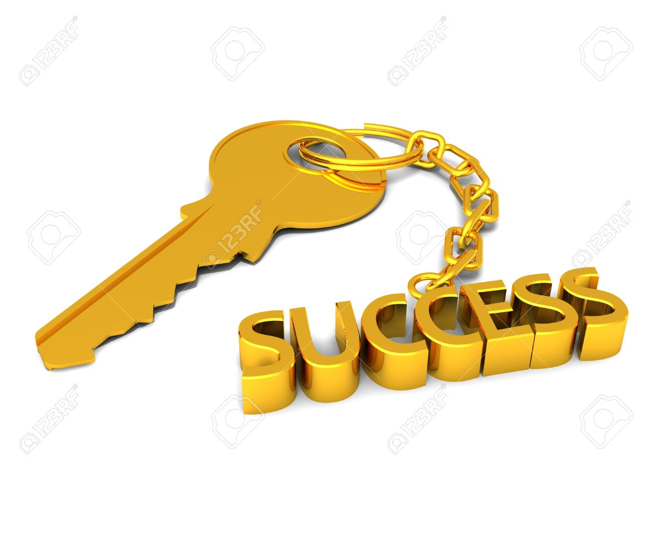 Three Dimensional Render Of A Golden Key With SUCCESS On Chain.