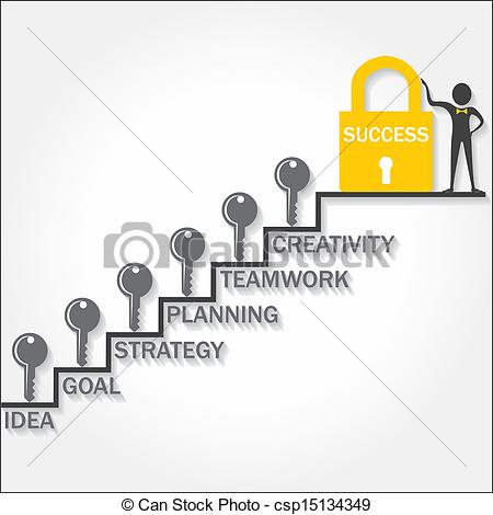 Vector Clipart of Step to key for success.
