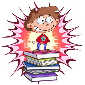 Happy successful young student over stack of books. Clipart.