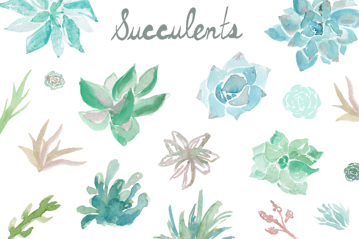 Watercolor Succulents Clip Art.