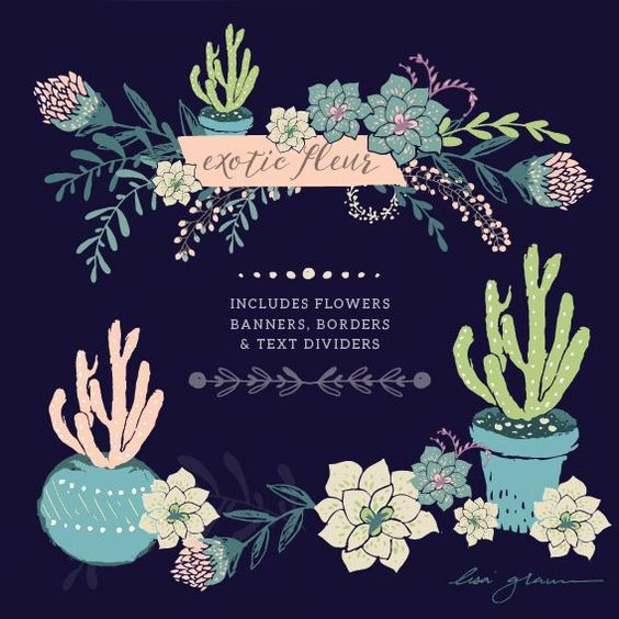FREE succulent clip art courtesy of Lisa Glanz. WOW! Cute cactus.
