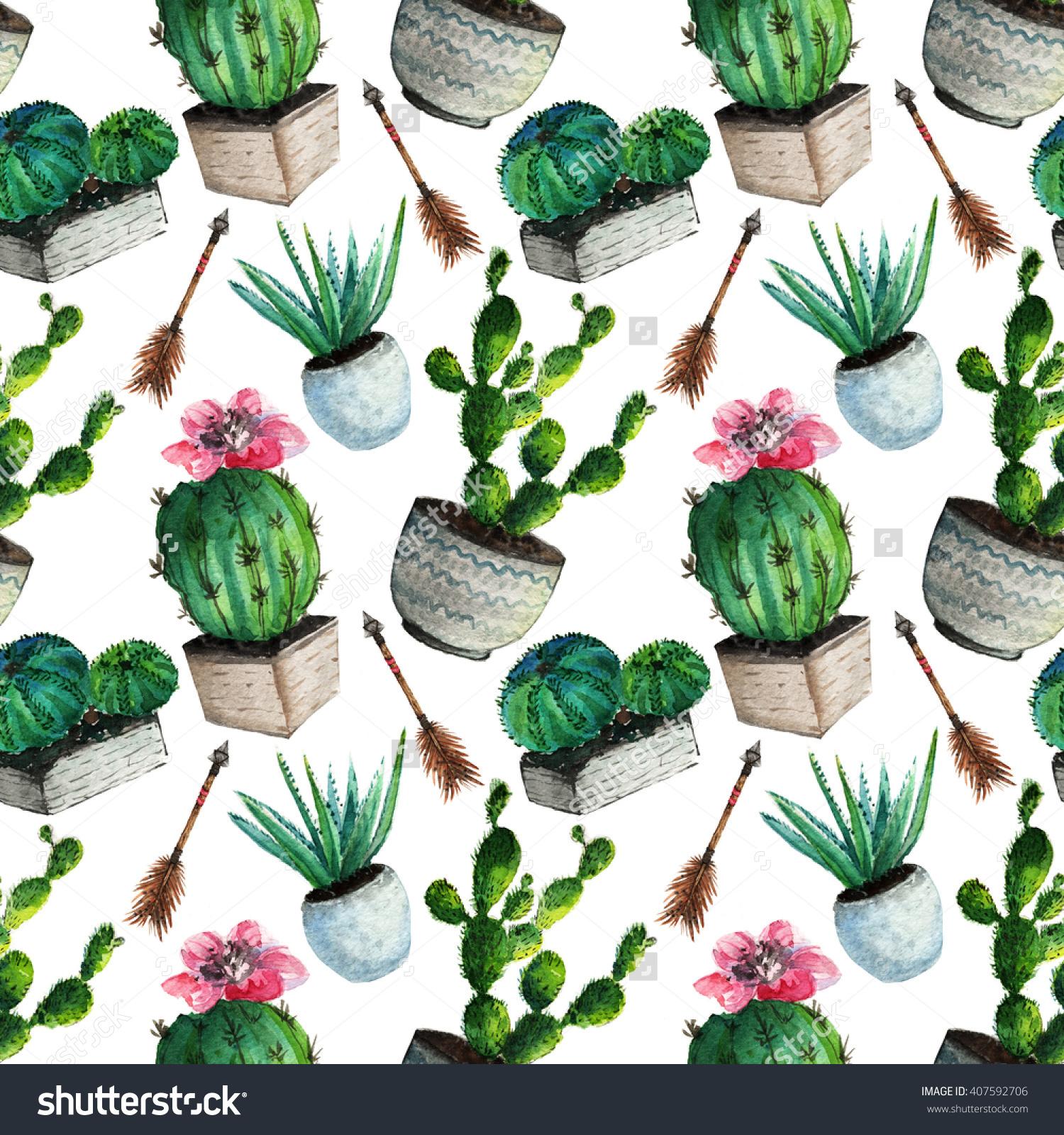 Watercolor Cactus Succulentseamless Vintage Cactus Print Stock.