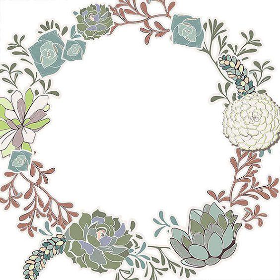 Succulent Wreath Clip Art, Succulent Floral Border ClipArt, Flower.