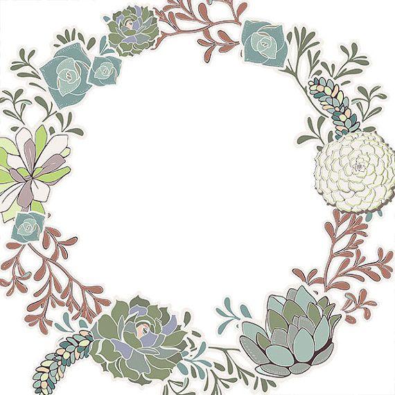 Succulent Wreath Clip Art, Succulent Floral Border ClipArt.