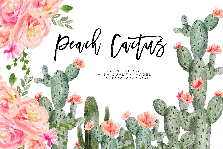 Succulent Peach Watercolor Cliparts, Cactus Flower Clipart, Botanical Cacti  Plant, Tropical Floral Pack, Watercolor Cactus Clip Art Floral.