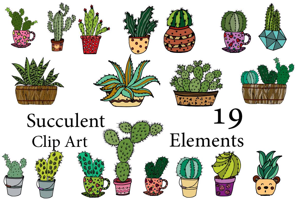 Succulent Vector Clipart.