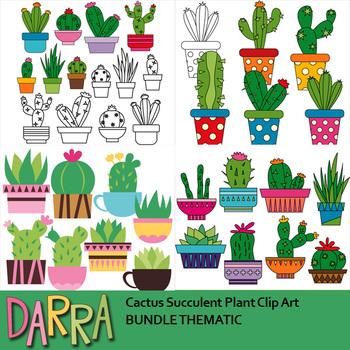 Cactus Succulent Plant Clip Art Bundle.