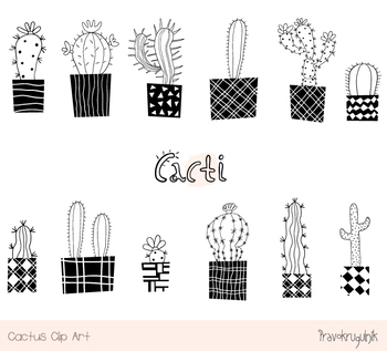 Cute cactus clipart black and white modern houseplant, Hand drawn succulent.