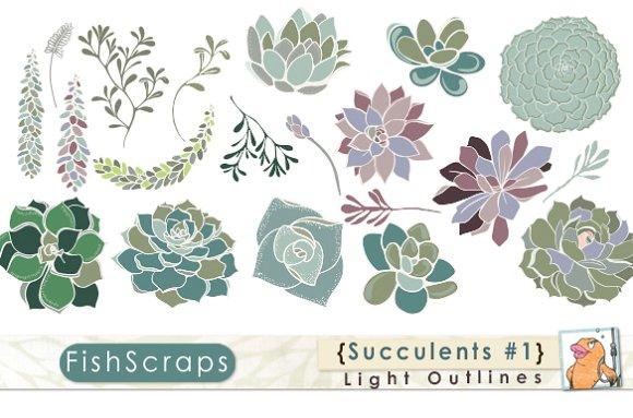 Succulents Clip Art.